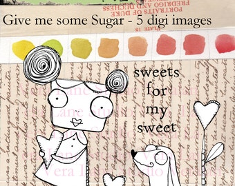 Give Me SOme Sugar; Whimsical girl and dog in heart garden - five digi image set available for instant download
