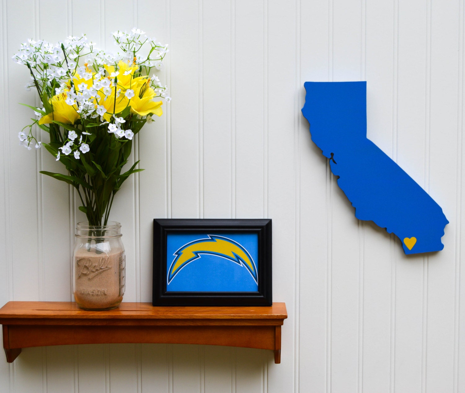 San Diego Chargers Colors: San Diego Chargers Powder Blue State Heart Wall