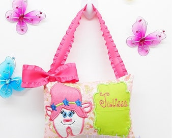 Troll Tooth Fairy Pillow - Name Embroidered - Girls Tooth Fairy Pillow