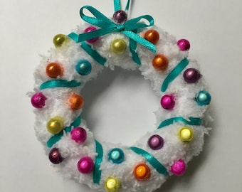 Pastel Christmas Beaded Ornament, Rainbow Miniwreath