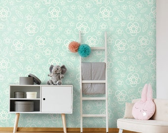 Flowers Wallpaper, Flowers Pattern Wallpaper, Repositionable Removable Fabric Wallpaper, Girls Nursery Decor, Peel and Stick, Self Adhesive