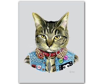 Punk Cat art print  - Pet Portrait - Animals in Clothes - Animal Art - Punk Rock - Tabby Cat - Ryan Berkley Illustration 11x14