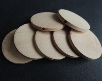 12 Pcs 40mm Natural Flat Wood Circles Wooden discs   (W898)