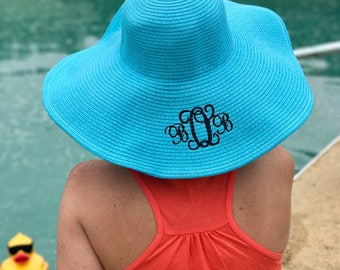SALE - Monogram Floppy Hat - Monogram Beach Hat - Monogrammed Pool Hat - Sun Hat - Embroidered Floppy Hat - Embroidery Monogram Hat