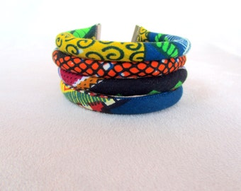 African wax fabric cuff bracelet colorful