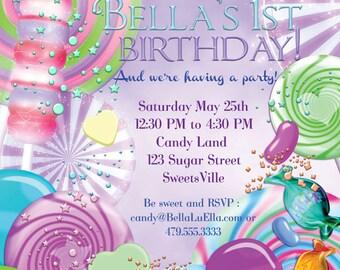 Photo Card Candy Land Photo Invitation Birthday Party