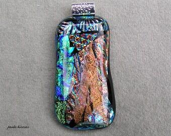 Kiln Fired Dichroic Glass Pendant #7