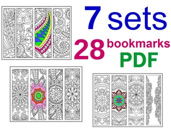 7 sets Bookmarks Coloring, Total 28 Bookmarks, Printable PDF size 8.5 x 11 inches Letter, Vector Graphics, Instant Download. For Coloring. 4