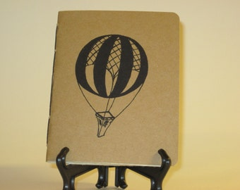 "Handmade Notebook with Vintage Hot Air Balloon Illustration - 4.25"" x 5.5"""