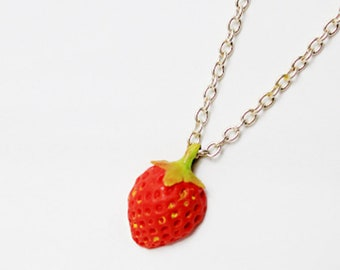 red pendant gift for girl strawberry necklace fruit jewelry gift for daughter jewelry cute gift necklace granddaughter gift for sister FJ74