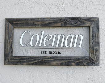 Custom Family Name Sign, Custom Signs, Rustic Frame Signs, Established Family Name Sign, Rustic Sigsn, Personalized Wedding Gift, 20x10