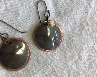 Two toned copper disc earrings.