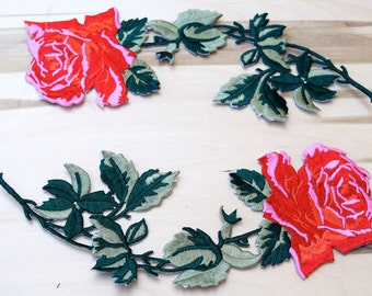 Red Rose Patches 2 PIECES Embroidery Patches Classically Timeless Embroidery Flower Applique, Rose Patch with Iron on Backing