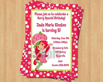 Strawberry shortcake invitation etsy strawberry shortcake birthday party personalized invitation eg file polka dot filmwisefo Images