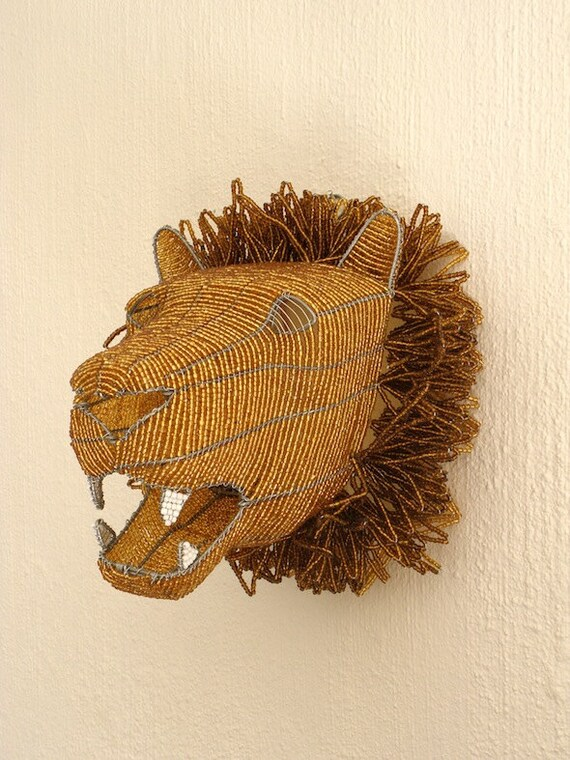 African Beaded Wire Animal Sculpture LION HEAD