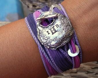 Personalized Jewelry, Custom Monogram Bracelet, Personalized Bracelet, Silver Toggle, Silk Wrap Bracelet, Indigo Purple n Sapphire Blue
