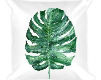 Monstera Leaf Pillow, green white pillow, monstera leaf, monstera leaves, tropical leaf pillow, leaf throw pillow, botanical pillow