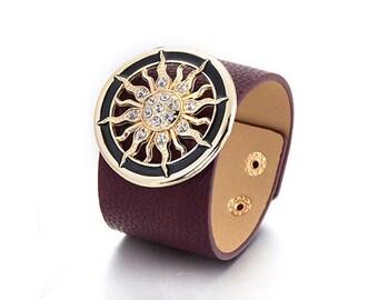 Burgundy Sun Cuff Bracelet