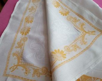 10 orange Monogram floral strips RS linen damask towels - 12887