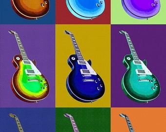 Austin, Texas - Guitar Pop Art (Art Prints available in multiple sizes)