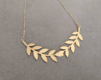 Gold Leaf Necklace, Leaf Necklace, Gold Necklace, Grecian Leaf Necklace, Leaves Jewelry, Wedding Necklace, Bridal Necklace, Laurel Necklace