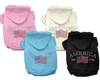 Pet Apparel . Dog Hoodies . Rhinestone Hoodies for Dogs . Classic American Hoodies for Dogs.