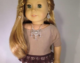 Fits 18 inch dolls crop top  lace t-shirt 18 inch dolls