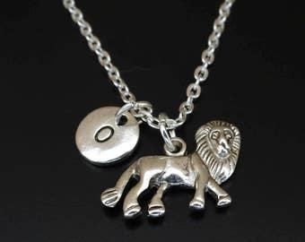 Lion Necklace, Lion Charm, Lion Pendant, Lion Jewelry, Lion Gifts, Lion Birthday, Safari Necklace, Safari Jewelry, Jungle Necklace