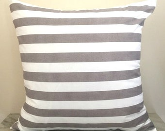 Taupe Striped Cotton Cushion Pillow Cover