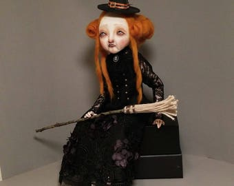 Miss Tabitha ginger hair witch, handmade art doll, paper clay, sculpture, ooak doll, soft sculpture cloth body,articulate bjd style