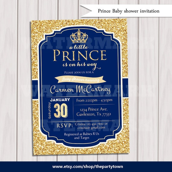 Prince Baby Shower Invitation Royal Blue Gold Baby Shower