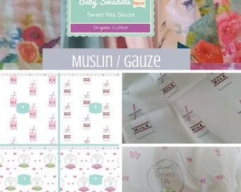 CUSTOM 1 layer Muslin Baby Swaddle / Organic Sweet Pea Gauze Newborn Swaddle /Headband - Farm Fresh Milk & Shabby Chic Rose Wreath