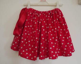 Alice in Wonderland  inspired Self Tie Skirt, bright red with white hearts and a lovely red satin ribbon.  Ladies/Teens Free Size.