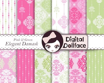 Pink and Green Baby Digital Paper, Baby Girl Damask Scrapbook Paper, Decoupage
