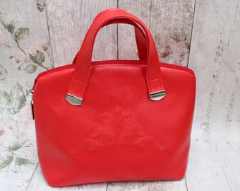 Red Faux Leather Handbag, Leather Look Bag, Fire Engine Red Bag, Ladies Handbag, Christmas Gifts For Her.