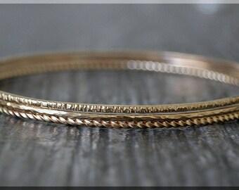 Set of 3 14k Gold Filled Bangle Bracelet, Twig Bark Bangle, Twist, Hammered Texture Stacking Bracelets, Gold Filled Minimalist Bracelet Set