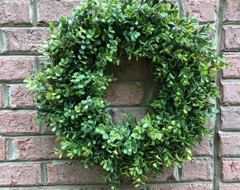 SALE/Farmhouse Wreath, Boxwood wreath, Green wreath, Green leaf wreath,Housewarming gift, Fixer upper wreath, Bride gift. 22""