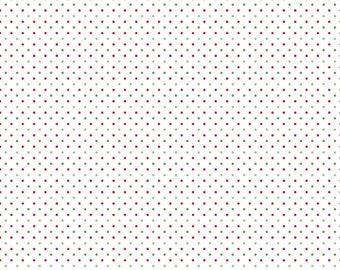 Christmas Swiss Dots on White - Riley Blake Designs - Red and Green Polka Dot - Quilting Cotton Fabric - choose your cut