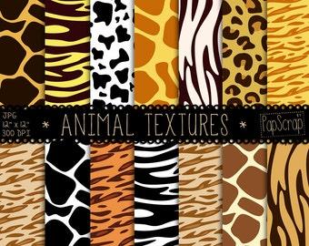 "Animal print digital paper : ""Animal Textures"" digital scrapbook paper with zebra, tiger, giraffe, leopard patterns, safari backgrounds"
