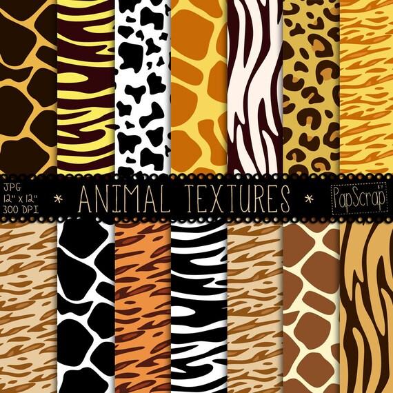 Animal Print Digital Paper Animal Textures Digital Scrapbook