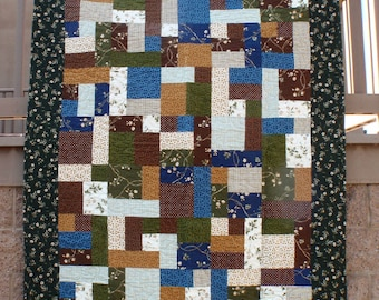 Yellow Brick Road Forest Flowers Blue Green Gold Flannel Finished Quilt 57 x 75