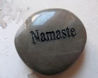 Namaste Engraved Energy River Rock