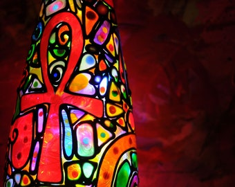 Ankh Stained Glass Bottle Light