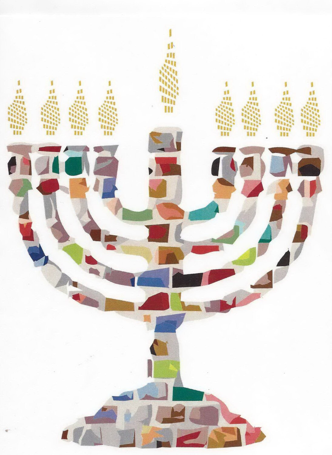 Hannukah Jewish Greeting Card Mosaic Menorah