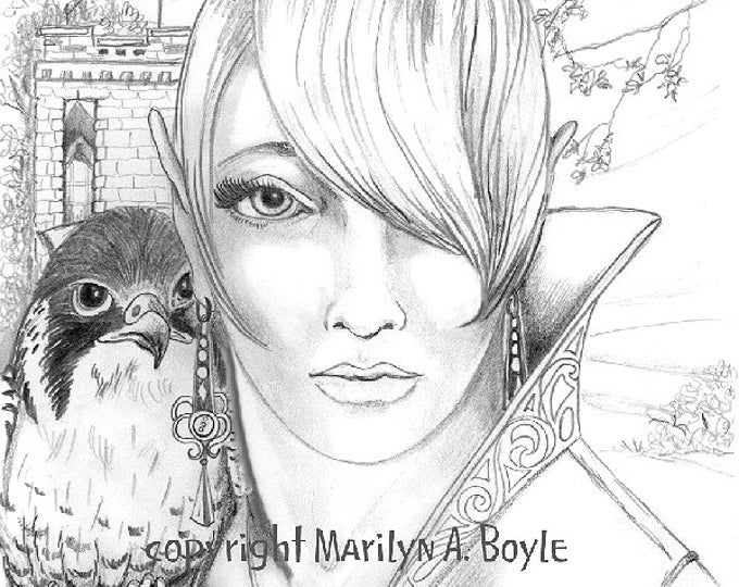 PENCIL PRINT - FANTASY; graphite drawing, peregrine falcon, lady Elf, gate house, from an original drawing,  8 1/2 x 11 inches, wall art