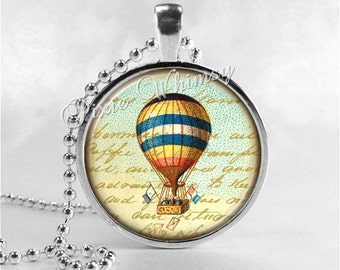 HOT AIR BALLOON Jewelry Round Glass Bezel Pendant with Free 24 Inch Necklace Chain