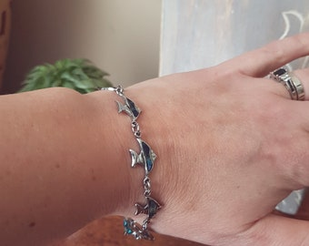 Vintage Mother-of-Pearl Bracelet, Silver, Fish