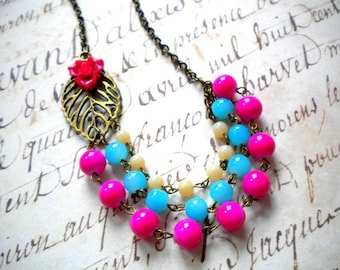 Flower Necklace Fuschia Necklace Leaf Necklace Flower Statement Necklace Colorful Necklace Hot Pink Necklace Colorful Jewelry Bib Necklace