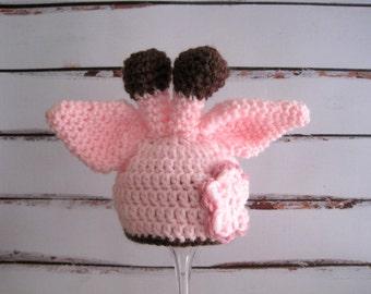 Pink Giraffe Hat, Crochet Baby Hat, Baby Giraffe Hat, Baby Girl Hat, Girl Giraffe Hat, Newborn Hat, Infant Girl Hat, Baby Animal Hat
