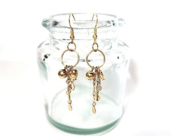 Gold Heart and Dangle Earrings Handmade, Valentines